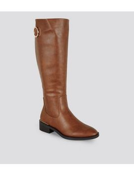 Tan Leather Look Ring Buckle Knee High Boots by New Look