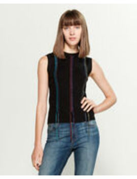 Metallic Lace Up Sweater Vest by Yal New York