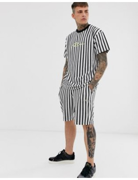 Boohoo Man Signature Velour Stripe T Shirt And Short Set In Grey by Boohoo Man