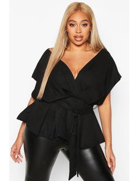 Plus Wrap Tie Waist Wrap Blouse by Boohoo