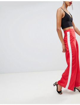 Boohoo Exclusive Wide Leg Side Stripe Trousers In Red by Boohoo