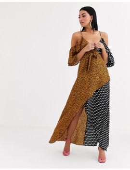 Forever U Wrap Front Maxi Dress With Cold Shoulder In Mixed Print by Forever Unique