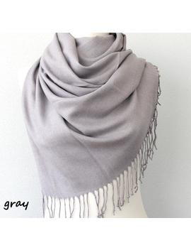 Pashmina Shawl Gray Scarf Thick Pashmina Wrap Silver Fringe Shawl Plain Shawl Winter Accessories Solid Color Shoulder Scarf by Etsy