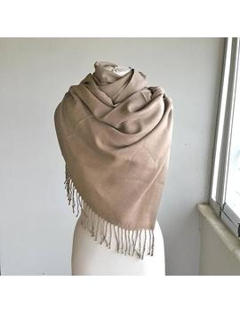 Beige Pashmina Shawl Oatmeal Light Brown Pashmina Scarf Thick Pashmina Wrap Mink Fall Fashion Fringe Shawl Winter Accessories Shoulder Scarf by Etsy
