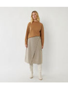 Check Wrap Midi Skirt by Warehouse