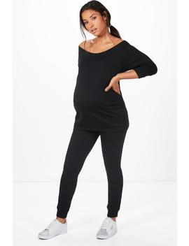 Maternity Bardot Top & Lounge Set by Boohoo