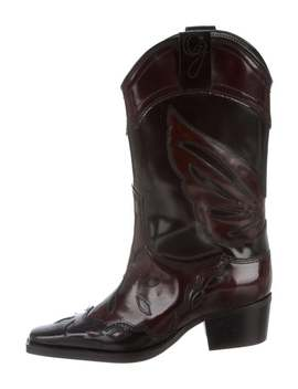 High Texas Leather Boots W/ Tags by Ganni