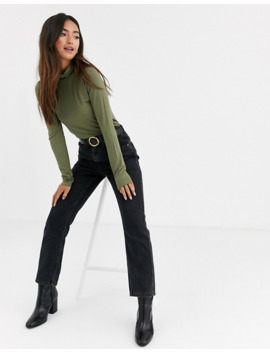 Asos Design Turtle Neck Long Sleeve Top In Khaki by Asos Design