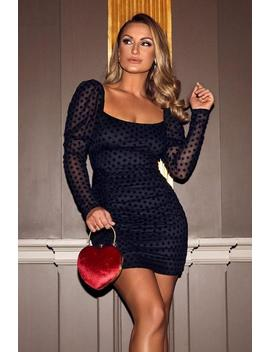 Sam Faiers Black Mesh Polka Dot Puff Sleeve Dress by Quiz