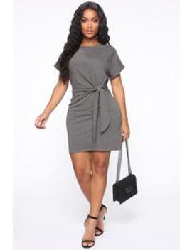Knot Today Midi Dress   Charcoal by Fashion Nova