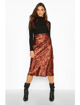 Tall Tortoise Shell Print Satin Midi Skirt by Boohoo