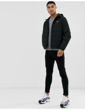 Lacoste Quilted Hooded Jacket In Black by Lacoste