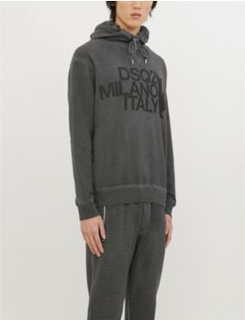 Logo Print Cotton Jersey Hoody by Dsquared2