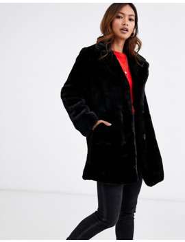 Pimkie Faux Fur Longline Coat In Black by Pimkie