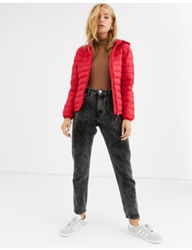 Pull&Bear Join Life Hooded Padded Jacket In Red by Pull&Bear