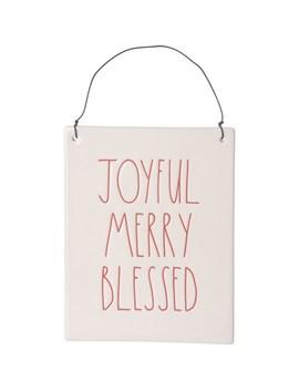 """Rae Dunn 7.5x6"""" Joyful Merry Blessed Wall Plaque by Rae Dunn"""