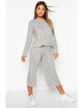 Oversized Long Sleeve Top Cullotes Co Ord by Boohoo