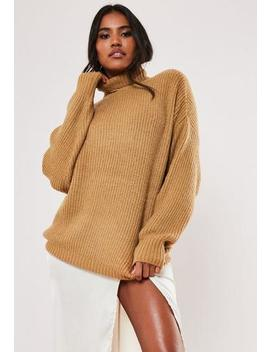 Camel Boyfriend Roll Neck Jumper by Missguided