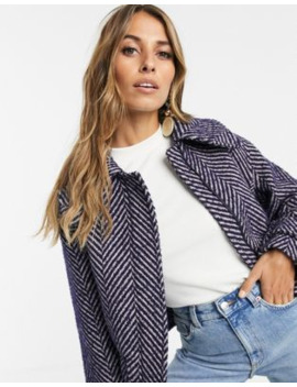 &Amp; Other Stories Jacket In Herringbone Purple And Grey by & Other Stories