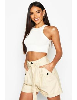 Belted Twill Cargo Shorts by Boohoo