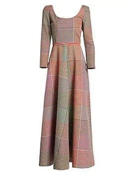 Mixed Plaid Long Sleeve Dress by Rosie Assoulin