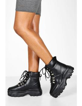 Wide Fit Snake Chunky Hiker Boots by Boohoo
