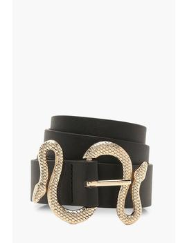 Snake Trim Detail Buckle Belt by Boohoo