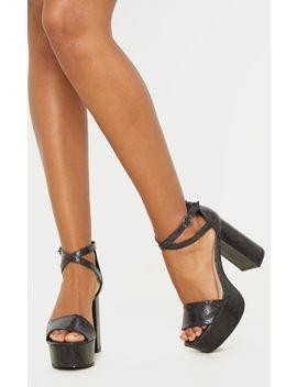 Black Snake Platform Ankle Tie Block Heel Sandal by Prettylittlething