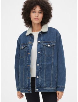 Sherpa Lined Oversized Icon Denim Jacket by Gap