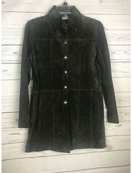 Chico's Suede Coat Size 0 Dark Green Silver Button Front Collar 100% Leather by Chico's