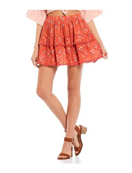 Floral Tiered Ruffle Skirt by C&Amp;V Chelsea &Amp; Violet