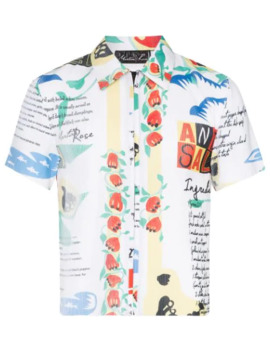 Plissé Printed Zip Up Shirt by Martine Rose