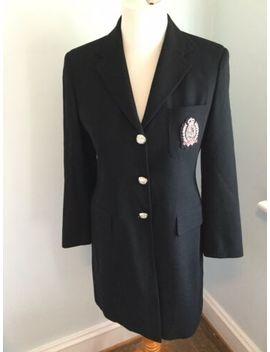 Ralph Lauren Women's Crest Blazer Black Wool Crown Pocket Vintage Sz 4 Petite by Ralph Lauren