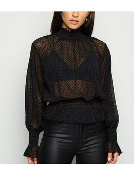 Black Mesh Spot Shirred Blouse by New Look