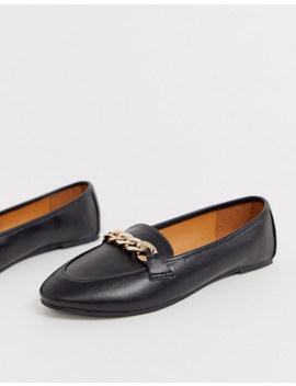 Raid Wide Fit Liviah Black Leather Look Chain Trimmed Loafers by Raid
