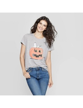 Women's Peanuts Snoopy Short Sleeve Graphic T Shirt (Juniors')   Gray by Peanuts
