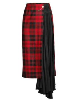 Marita Pleated Plaid Midi Skirt by Mother Of Pearl