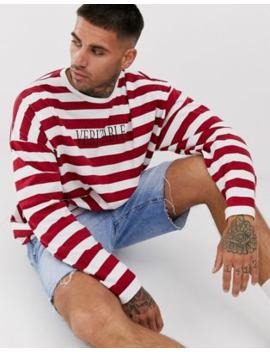 Asos Design   Oversized Gestreept T Shirt Met Lange Mouwen En Franse Tekst by Asos Design