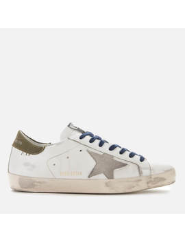 Golden Goose Deluxe Brand Men's Superstar Leather Trainers   White/Golden Goose Footsteps by Golden Goose Deluxe Brand