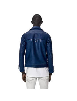 John Elliott Mens Blue Summer Riders Leather Jacket I004 J0344 Q 1/Small $1610 Nwt by John Elliott
