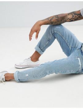 Asos Design   Skinny Jeans Met Lichtblauwe Wassing En Gestikte Inzetstukken by Asos Design
