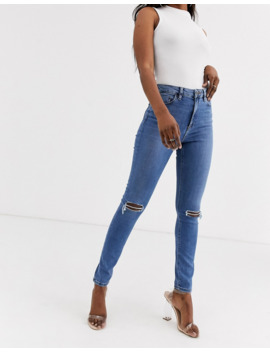 Asos Design Ridley High Waist Skinny Jeans With Rips In Mid Stonewash by Asos Design