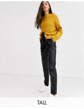 New Look Tall Tie Waist Leather Look Pants In Black by New Look