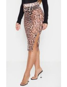 Leopard Print Mesh Midi Skirt  by Prettylittlething
