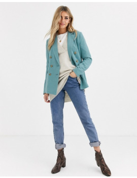 Pimkie Linen Blend Double Breasted Blazer In Artic Blue by Pimkie