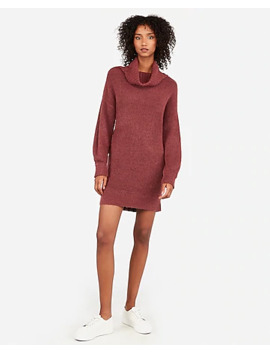 Ribbed Cowl Neck Shift Sweater Dress by Express