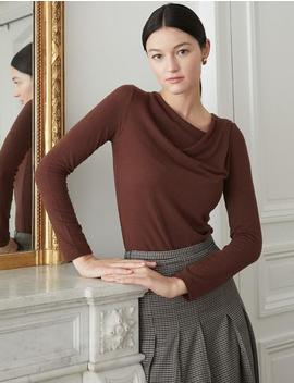 Brown Cowl Neck Top by Pixie Market
