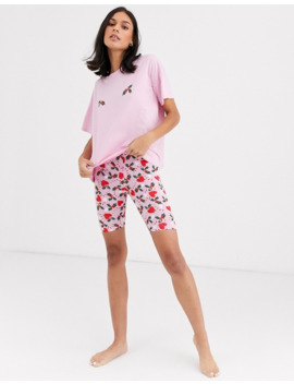 Monki Christmas Holly Print Pyjama Set In Pink by Monki