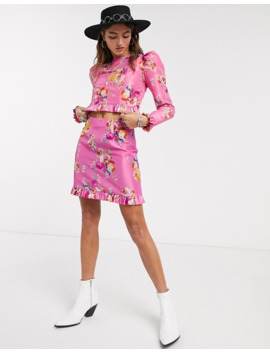Asos Design Mini Skirt In Pink Floral Print Co Ord by Asos Design
