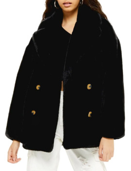 Ally Velvet Faux Fur Coat by Topshop